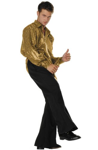 [70s Disco Inferno - 70s Sequin Gold,Plus (44-48)] (70s Couple Costumes)