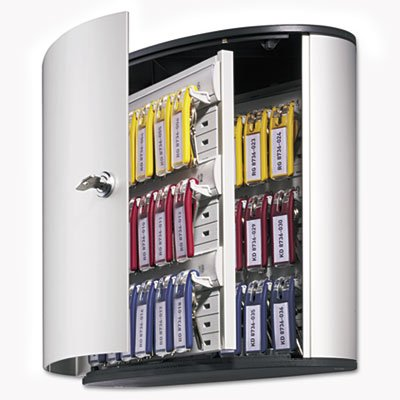 Locking Key Cabinet, 36-Key, Brushed Aluminum, Silver, 11 3/4 x 4 5/8 x 11, Sold as 1 Each