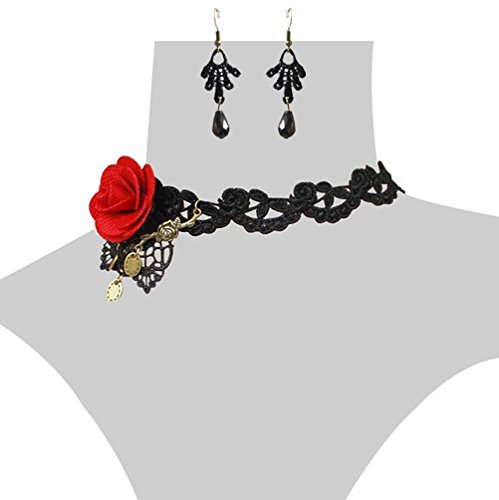 Charm.L Grace Flower Lace Gothic Lolita Pendant Choker Necklace Earrings Set Wedding Halloween Accessories (Choker Set Flower Necklace)