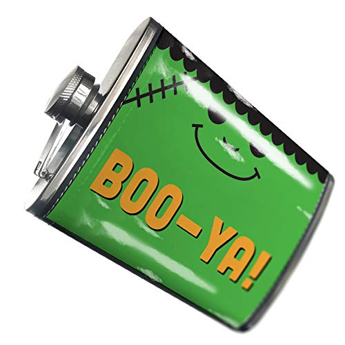 NEONBLOND Flask BOO-YA! Halloween Frankenstein Hip Flask PU Leather Stainless Steel -