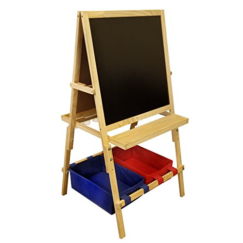 U.S. Art Supply Children's Cardiff Double-Sided Art Activity Easel with Chalkboard, Dry Erase Board, Paper Roll, 6 No-Spill Cups, 2 Storage Bins, 2 Trays - Kids Learn to Paint, Draw, Write, Have Fun by US Art Supply (Image #3)