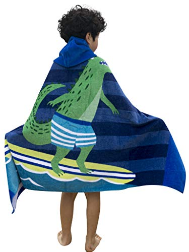 Organic Cotton Finger Puppet - Athaelay Kids Hooded Towel Soft Cotton and Thick(410g), Use for Beach/Bath/Pool/Swim, Crocodile Theme