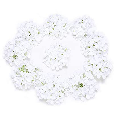 LUSHIDI Silk Hydrangea Heads with Stems Artificial Flowers Heads for Home Wedding Decor,Pack of 10