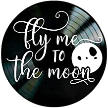 Fly Me to the Moon Frank Sinatra song lyrics on a Vinyl Record Album Wall Art