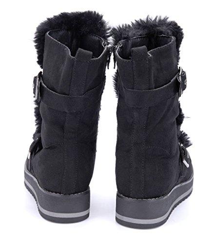 Schuhtempel24 Damen Schuhe Flache Stiefeletten Stiefel Boots Flach Schnalle Schwarz