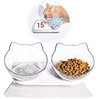 EVELTEK Cat Bowls with Stand, Pet Feeder Double Food Diner Bowl Set Perfect for Cats and Ultra Small Dog - Transparent