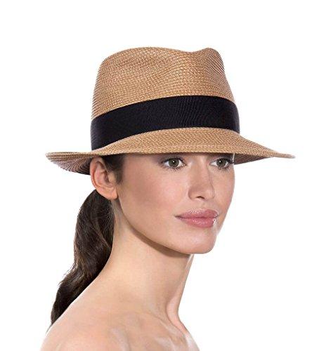 Eric Javits Luxury Designer Women's Headwear Hat - Squishee Classic - Natural/Black - Eric Javits Straw Cap