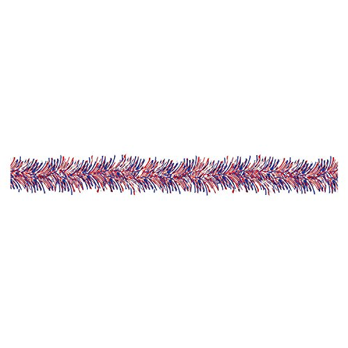 9' Red White and Blue Tinsel Garland - Patriotic Tinsel Garland