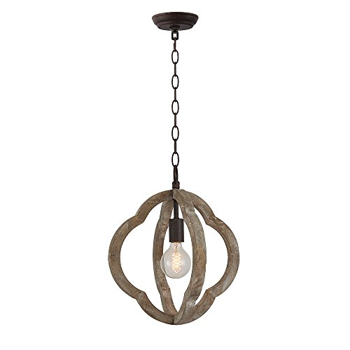 LB Lighting Vintage Orb Rustic Iron Wooden Chandelier 1-Light Hanging Ceiling Pendant Light Metal and Wood Chandeliers for Dinning Room, Family Decor