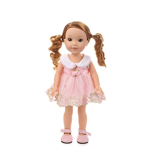 Dress Set Fashion 14' (uhoMEy Fancy Lace Dress for American Girl Doll Princess Dress Outfits Accessories Set for 14' Doll Fashion Casual Baby Girl Dresses Collection Pink)