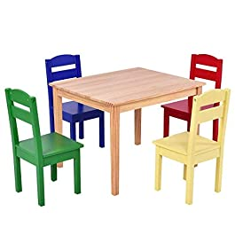 Costzon Kids Wooden Table and Chairs, 5 Pieces Set...