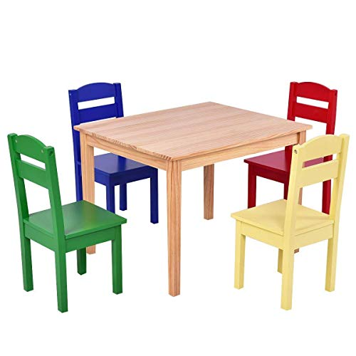 Game Room Set Dining Table (Costzon Kids Wooden Table and 4 Chairs Set, 5 Pieces Set Includes 4 Chairs and 1 Activity Table, Toddler Table for 2-6 Years, Playroom Furniture, Picnic Table w/Chairs, Dining Table Set (Multicolor))