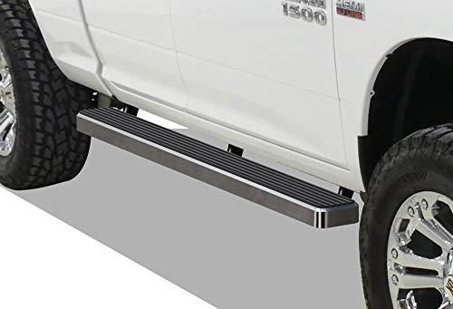 APS iBoard Running Boards (Nerf Bars | Side Steps | Step Bars) for 2009-2018 Dodge Ram 1500 Quad Cab Pickup 4-Door | (Silver 4 inches)