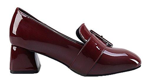 AgooLar Damen Ziehen auf Schließen Zehe PU Mittler Absatz Pumps Schuhe Weinrot