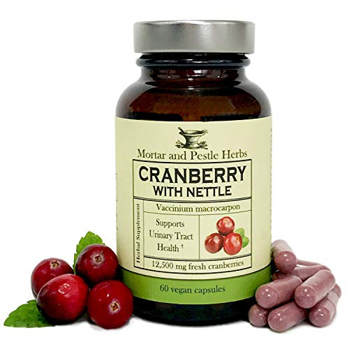 Mortar and Pestle Herbs - Extra Strength Cranberry Pills with Organic Nettle - 12,500 mg Fresh Cranberries per Capsule, Optimizes Urinary Tract UTI Health - Vegan and GMO Free - - Herbs Pestle