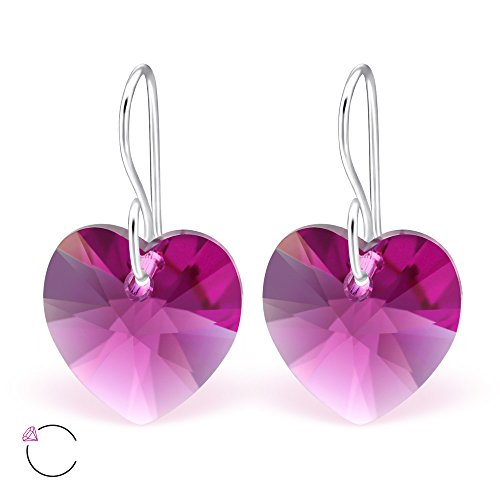 925 Sterling Silver Fuchsia Swarovski Crystal Heart Fishhook Earrings 27942 -