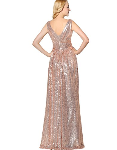 d3e8877fc30 Belle House Women s Long A Line Prom Bridesmaid Dress Plus Size Evening  Gows Beaded Gold Sequins Party Dresses V Neck