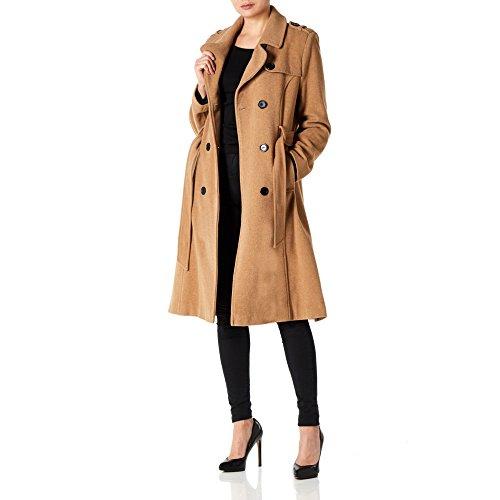 Trench Femme Anastasia Cachemire Et En Long Ceinturé Laine coat Camel Pour A46ZW4