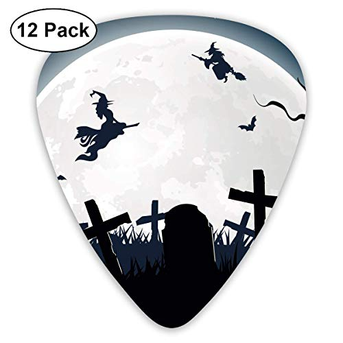 - DFNRF Halloween Witch Broom Silhouette Cemetery Lawn Guitar Pick 0.46mm/0.73mm/0.96mm 12pack,Unique Designs in Assorted Colors