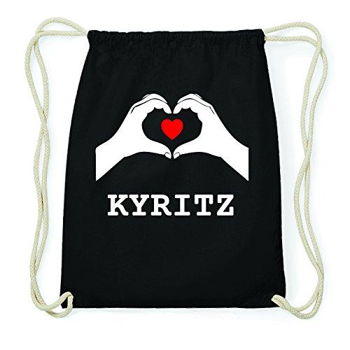 JOllify KYRITZ Hipster Turnbeutel Tasche Rucksack aus Baumwolle - Farbe: schwarz Design: Hände Herz