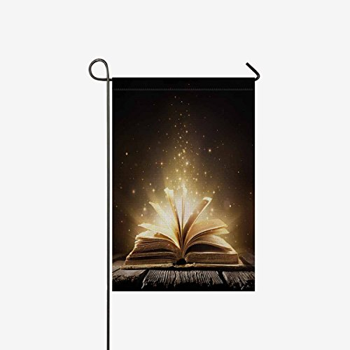InterestPrint Old Book with Magic Lights on Vintage Wooden T