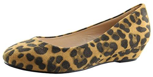 Bella Marie Kvinners Comfy Skjult Kile Ballett Flat Leopard
