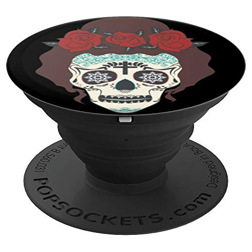 Creepy Scary Face Painted Skull Rose Hair Skeleton Halloween - PopSockets Grip and Stand for Phones and Tablets