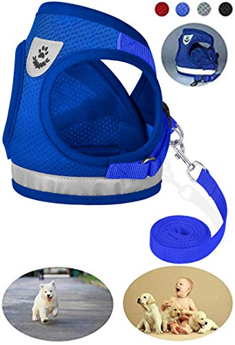 GAUTERF Dog Harnesses, Adjustable Outdoor Pet Vest, Vest Harnesses, No-Pull Pet Harness, Reflective Breathable Material Dogs Vest Harness,fit Small Medium Dogs (Medium, Blue) from GAUTERF