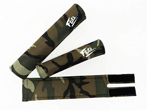 Flite Chrome, Gold, Camo with Logo BMX Pad Set (Chromoly Frame Fit) (Camouflage with White Logo)