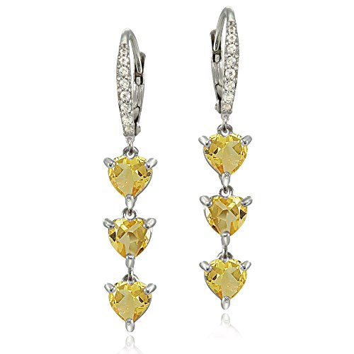 Sterling Silver Genuine Citrine and White Topaz Heart 3-Stone Dangle Earrings