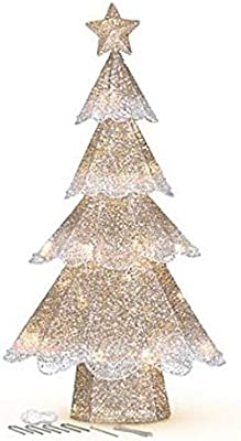 3' Pre Lit Champagne Mesh Glitter Outdoor Christmas Tree Decoration