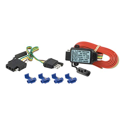 CURT 55179 Non-Powered 3-to-2-Wire Splice-in Trailer Tail Light Converter Kit with 4-Pin Wiring -