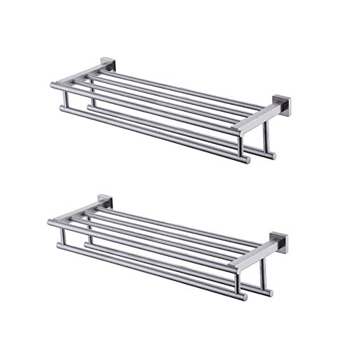 KES Bathroom Bath Towel Rack with Double Towel Bar 24-Inch Wall Mount Shelf Rustproof Stainless Steel Brushed Finish, 2 Pack, A2112S60-2-P2