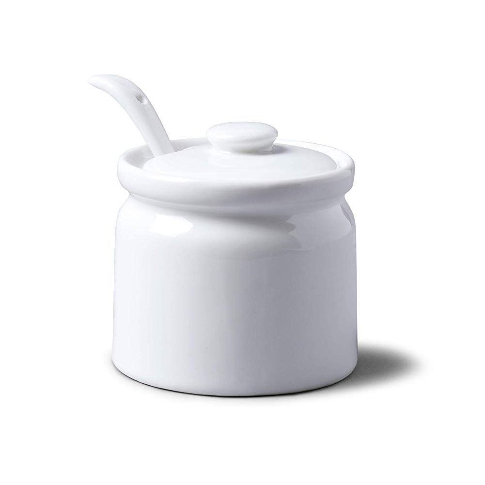 White Home Supplies wwzEITpV T165 Traditional Porcelain Sugar//jam//mustard Pot With Lid Spoon 8cm