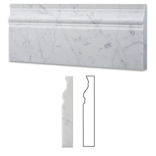 Italian Carrara White Marble Polished 5 X 12 Baseboard - Box of 5 Pcs.