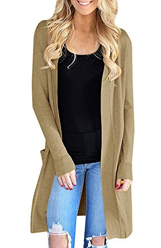 GAMISOTE Womens Knit Cardigan Sweaters Open Front Long Sleeve Tops with Pockets