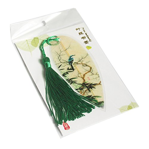 Leaf Bookmarks - Made of Real Leaves 4PCs Landscape vein bookmark with Traditional Chinese painting Business Gift Photo #2