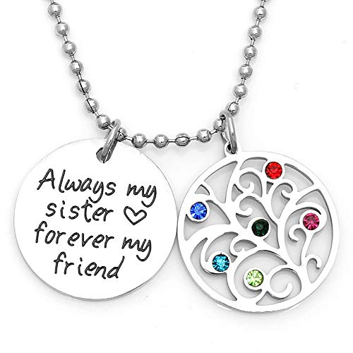 (Followmoon Stainless Steel Love Words Engraved Hypoallergenic Pendent Necklaces Pendant Necklaces for Men Women Girl Boy Jewelry (Always My Sister Forever My Friend))