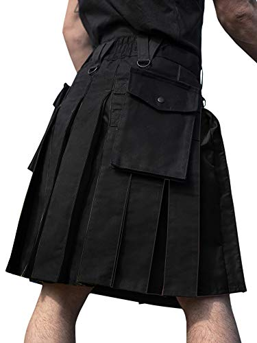 PASLTER Mens Scottish Utility Kilts Cotton Pleated Irish Tartan Highland Skirt with Cargo Pockets Black ()