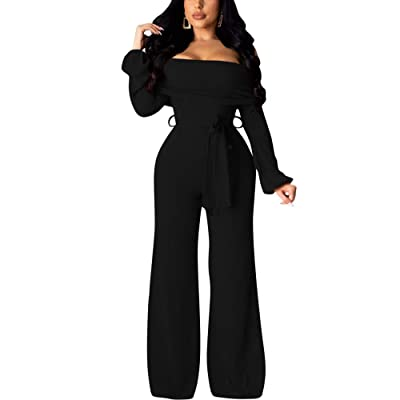 Acelitly Women Sexy Knit Jumpsuit Romper - Off Shoulder Casual Loose Long Wide Leg Pant Elegant Jumpsuit with Belt: Clothing