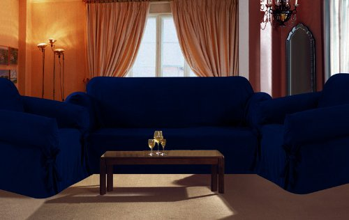 SOLID SUEDE Couch Cover 3 Pc. slipcover Set = Sofa + Loveseat + Chair Covers / Slipcovers 3 Pcs SET - NAVY BLUE color