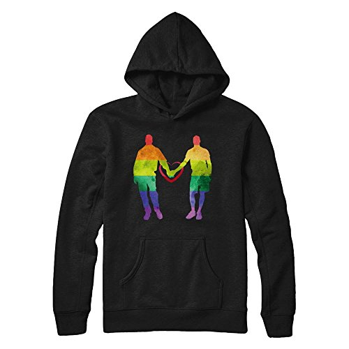 Gay Couple Halloween Costumes (Teely Shop Women's LGBT Pride Gay Couple Costume Gildan - Pullover Hoodie/Black/S)