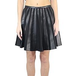 Yves Salomon Womens Leather A Line Skirt Black 36