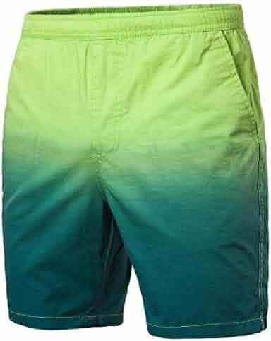 Jotebriyo Mens Plus Size Contrast Elastic Waist Straight Leg Casual Flat-Front Casual Shorts