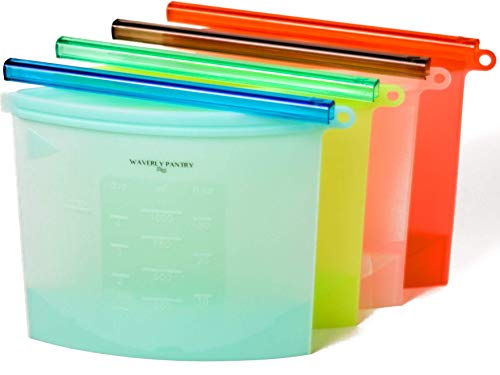 Reusable Silicone Food Storage Bags: Resealable Kitchen Food, Sandwich and Snack Baggies for Cooking, Boiling, Preserving, Freezer Use - no BPA, Food Grade Preservation Bag Savers - 4 Quart Size Bags