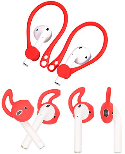 ALXCD Ear Hook Ear Tips for Airpod, 1 Pair Over-Ear Soft TPU Ear Hook & 2 Pairs in-Ear Silicone Ear Tips [Anti Slip][Anti Lost], Fit for Airpod Headphone [Red](1+2S)