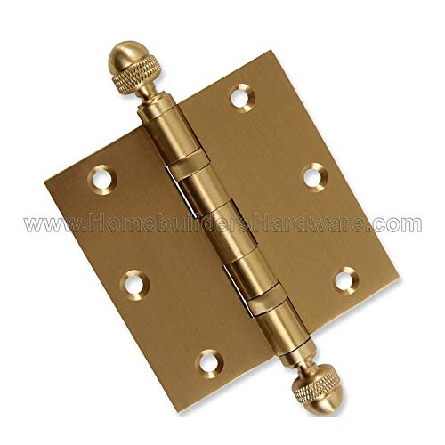 - 2 PK - Door Hinges 3.5 x 3.5 Extruded Solid Brass Ball Bearing Satin Brass Architectural Grade Acorn Tips Included