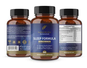 (Extra Strength Sleep Formula with Valerian Root, Magnesium, GABA, Passion Flower Extract, Melatonin by Radiant RG-Cell Neutraceuticals - 60 Capsules)