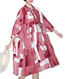 YESNO QS2 Women Loose Printed Doll Dress Bohemia Lace-up Neck Sexy Slit Front Large Gathered Skirt Puff Sleeve