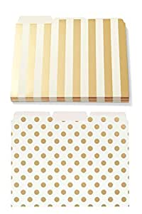 Bundle - Kate Spade New York File Folders Gold Stripe Set of 6 and Gold Dot Set of 6